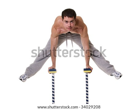 Acrobat posing isolated on white. - stock photo