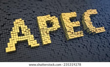 Acronym 'APEC' of the yellow square pixels on a black matrix background - stock photo