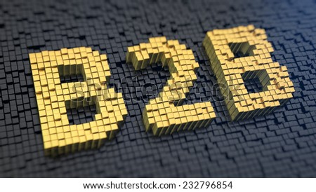 Acronym 'B2B' of the yellow square pixels on a black matrix background - stock photo