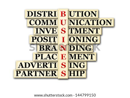 acronym concept of business and other releated words - stock photo