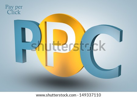 acronym concept: PPC for Pay per Click on blue background - stock photo