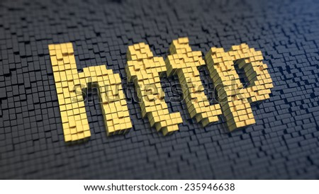 Acronym 'http' of the yellow square pixels on a black matrix background. Internet transfer protocol concept. - stock photo