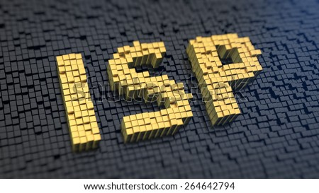 Acronym 'ISP' of the yellow square pixels on a black matrix background. Internet service provider concept. - stock photo
