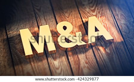 "Acronym ""M&A"" is lined with gold letters on wooden planks. 3D illustration image"