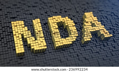Acronym 'NDA' of the yellow square pixels on a black matrix background. Non-disclosure agreement concept. - stock photo