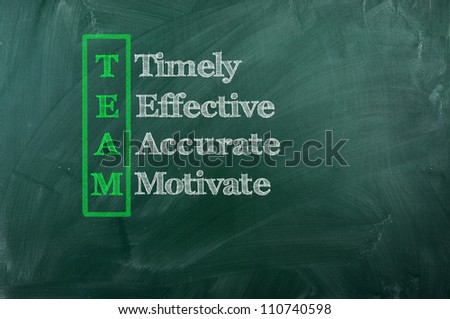 acronym of Team - Timely , Effective ,Accurate ,Motivated - stock photo