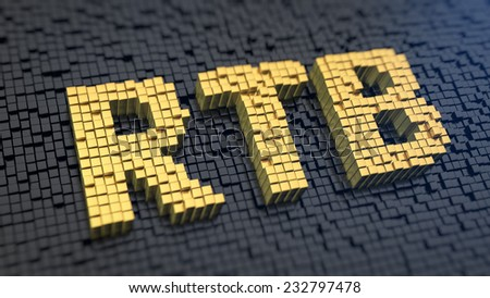 Acronym 'RTB' of the yellow square pixels on a black matrix background. Advertise network technology - stock photo