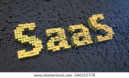 Acronym 'SaaS' of the yellow square pixels on a black matrix background. Startup as a service concept. - stock photo