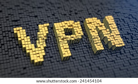Acronym 'VPN' of the yellow square pixels on a black matrix background. Private network concept. - stock photo