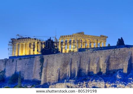 Acropolis and parthenon by night Athens Greece - stock photo