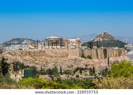 Acropolis in a beautiful summer day in Athens, Greece - stock photo