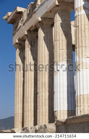 Acropolis of Athens. Parthenon columns. Greece. Vertical - stock photo