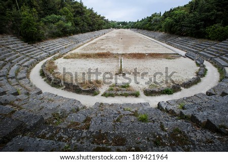 Acropolis ruins on Monte-Smith's mountain, Rodi, Greece - stock photo