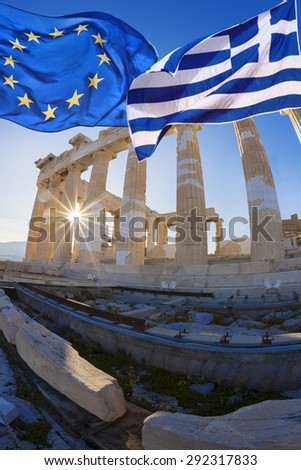 Acropolis with flag of Greece and flag of European Union in Athens, Greece