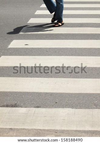 Across the crosswalk - stock photo