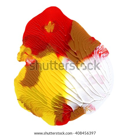 Acryic design element,hand painted,red and yellow colors