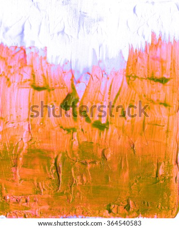 Acrylic abstract colorful hand painted pattern textured orange background