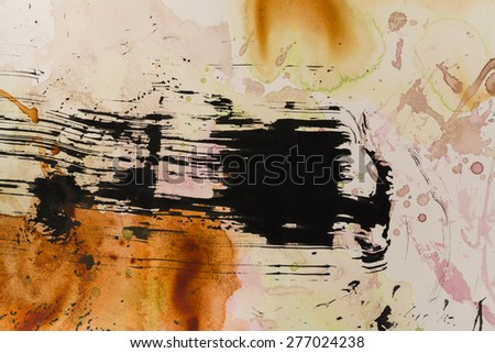 Acrylic and India Ink Abstract Background - stock photo