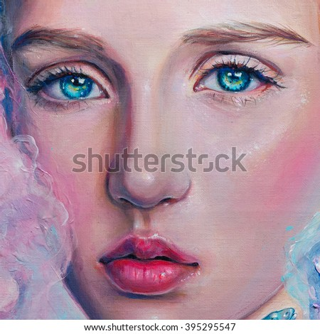 Acrylic and oil portrait of a young beautiful girl with big green eyes in pink tones