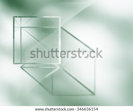 acrylic box abstract.shadow and reflection. - stock photo