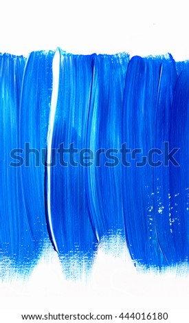 Acrylic brush stroke isolated on white background, texture. Grunge paper. Paint stain, blot. Ocean water or sky, maritime theme. Backdrop for scrapbook elements with space for text. - stock photo