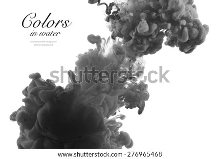 Acrylic colors and ink in water. Abstract background. - stock photo