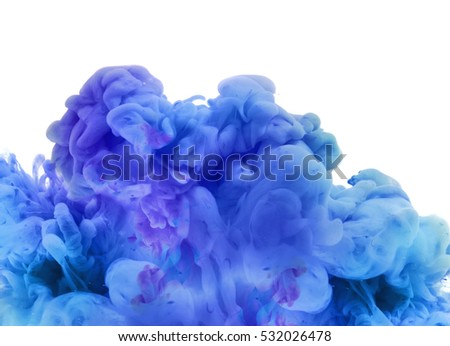 Acrylic colors and ink in water. Abstract smoke background. Isolated on white.