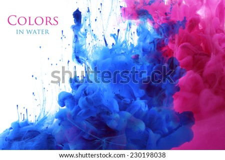 Acrylic colors in water. Abstract background. - stock photo