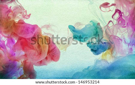 Acrylic colors in water. Abstract textured background. - stock photo