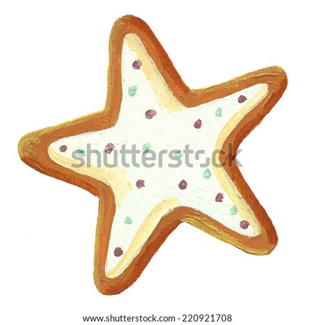 Acrylic gingerbread christmas star cookie - stock photo