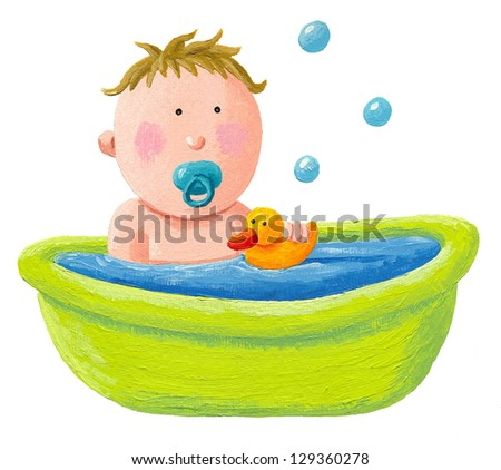 Acrylic illustration of baby bath with a yellow rubber duck - stock photo