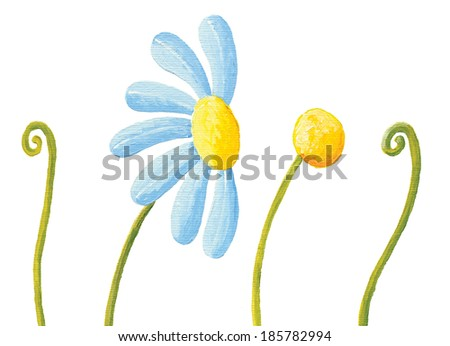 Acrylic illustration of blue flower and grass - stock photo