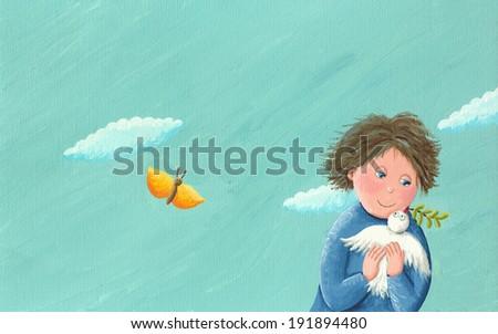 Acrylic illustration of boy and freedom dove  - stock photo