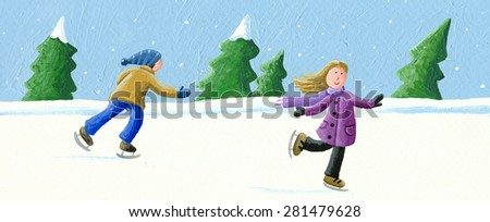 Acrylic illustration of boy and girl skating on ice - artistic content - stock photo