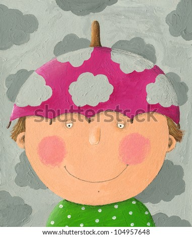 Acrylic illustration of boy with pink umbrella hat - stock photo