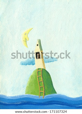 Acrylic illustration of cat island - stock photo