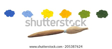 Acrylic illustration of color spots on white background isolated - stock photo
