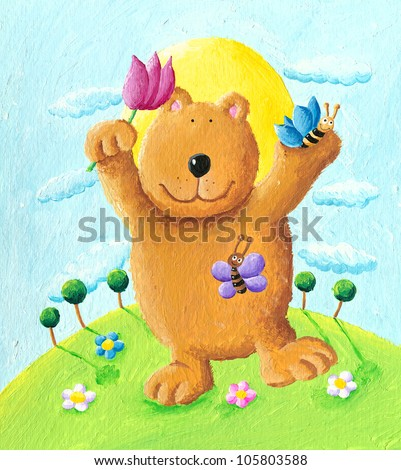 Acrylic illustration of cute bear dancing in the park - stock photo