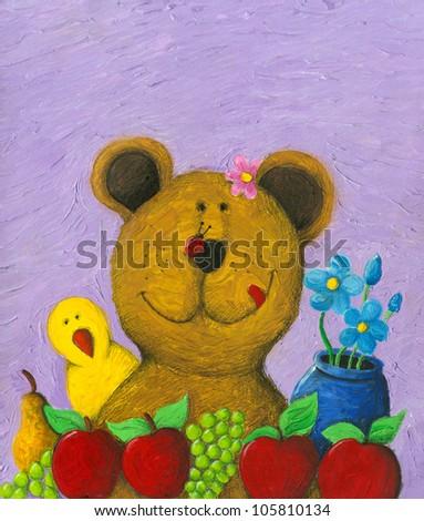 Acrylic illustration of cute bear eating fruits - stock photo