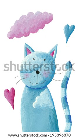 Acrylic illustration of cute blue cat - stock photo
