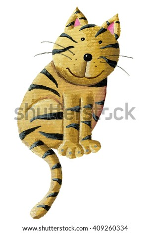 Acrylic illustration of cute cat - artistic content