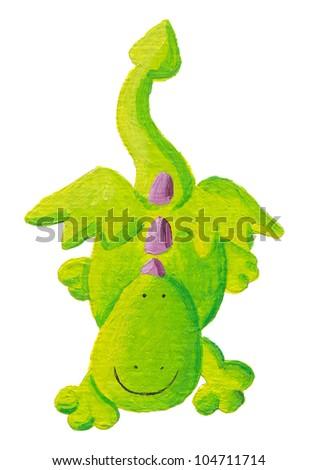 Acrylic illustration of cute dragon flying down - stock photo