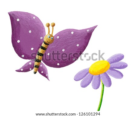 Acrylic illustration of cute purple butterfly and flower - stock photo