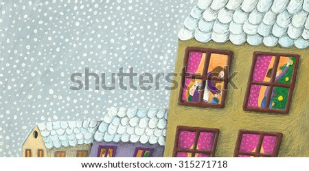 Acrylic illustration of family preparing for Christmas seen through a window - artistic content - stock photo