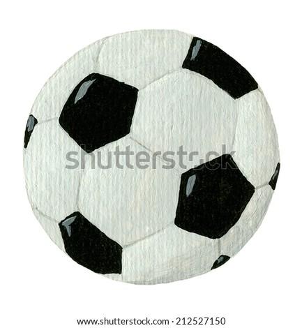Acrylic illustration of football ball isolated on white - stock photo