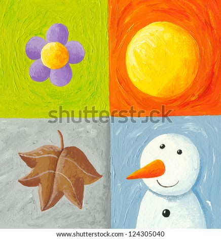 Acrylic illustration of Four seasons elements - stock photo