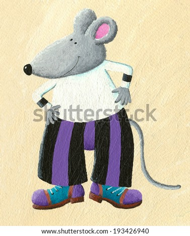 Acrylic illustration of funny dressed mouse - stock photo