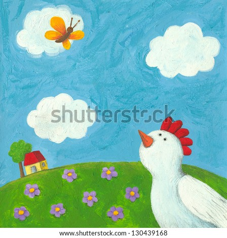 Acrylic illustration of funny hen and butterfly - stock photo
