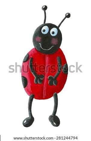 Acrylic illustration of funny ladybug - stock photo