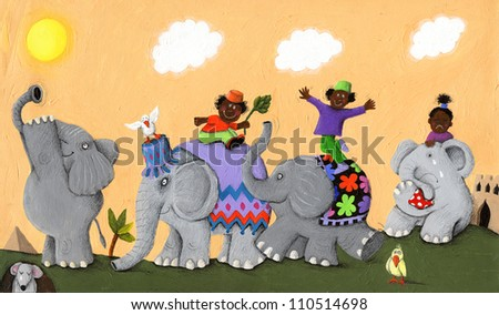 Acrylic illustration of Happy and sad African elephants and children - stock photo